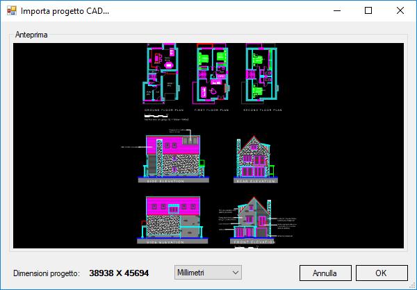 Importa la pianta del vano da un file dwg domus3d for Come fare una planimetria online
